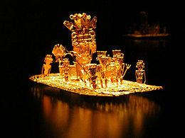 gouden Muisca vlot gebruikt bij lagune van Guatavita