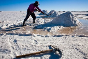 Salt is dried by making pyramids with hand tools  by miners in the Salar de Uyuni, in the Bolivian Altiplano.