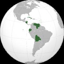 in groen de lidstaten van het ALBA