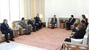 Maduro en de andere leden van de politieke raad van het ALBA op bezoek bij Assad in oktober 2011